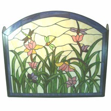 Hand-cafted dragonfly and Floral Tiffany Stained Glass Fireplace Screen Vintage Decoration