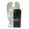 White Marble And Shanxi Black Big white angel tombstone monument with letter carved design,white marble stone for grave