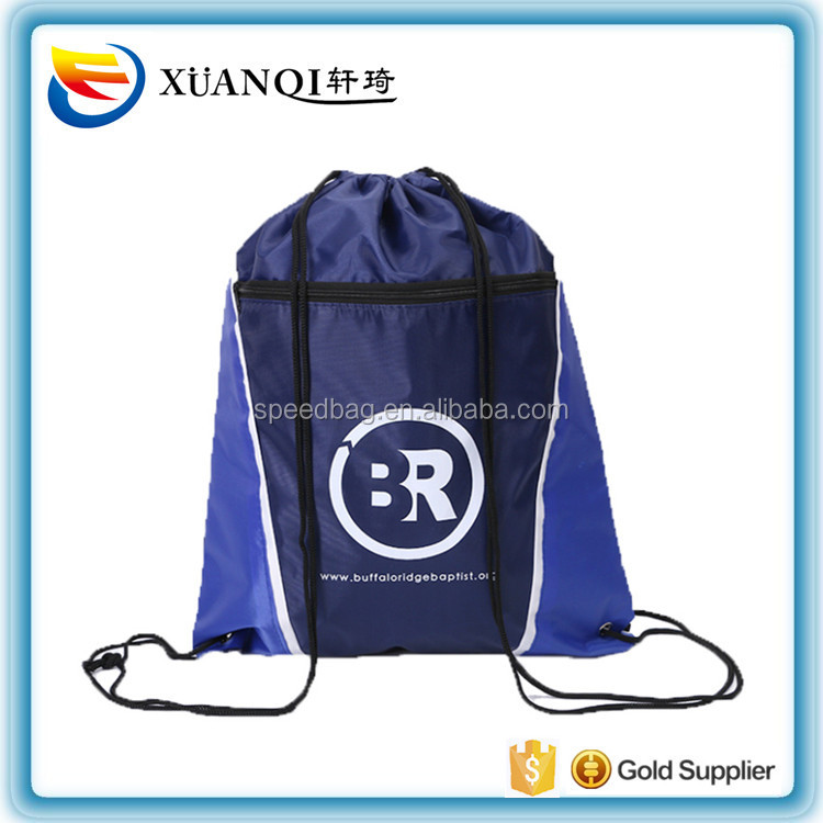 Custom newest webbing drawstring bag black polyester sports drawstring backpack