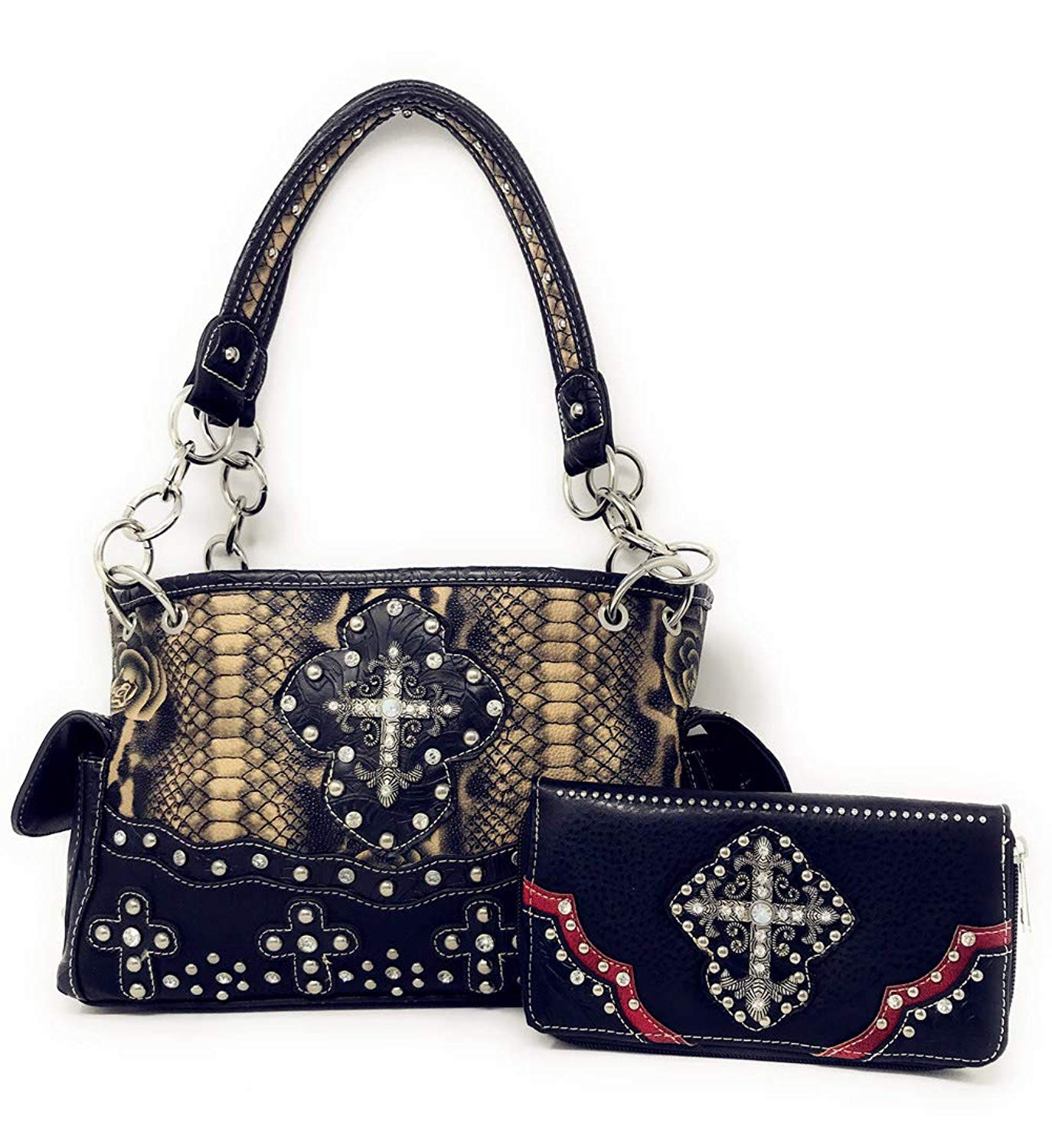 Get Quotations · Rhinestone Cross Flower Hobo Style Leather Shoulder Handbag  Purse and Matching Wallet in Black 5259 ( 88e7a9c44454b