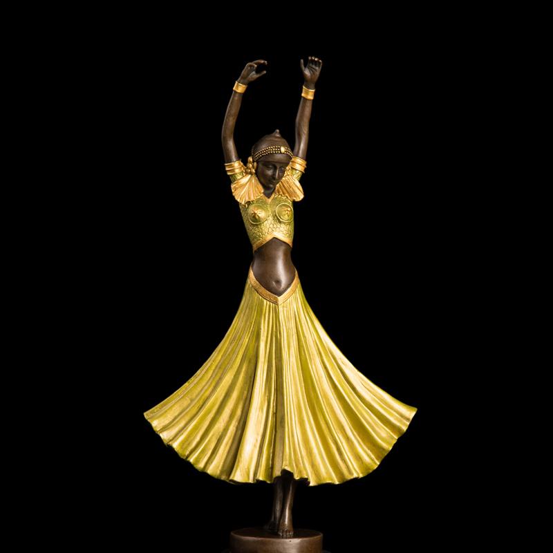 Bronze Arts And Crafts Lady Figurine