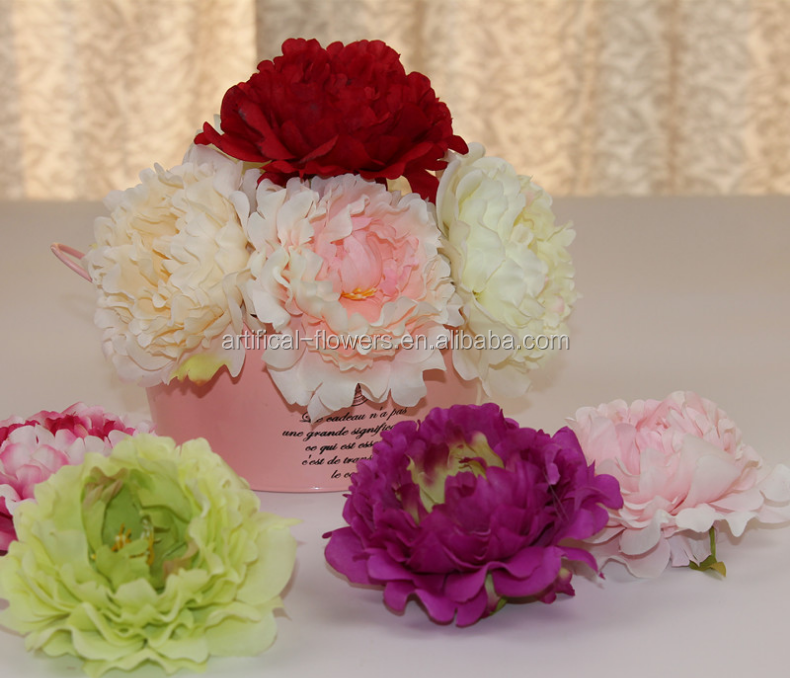 Factory supply peony artifical flower heads with hair silk flowers accessories,webbing decoration