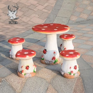 Fiberglass mushroom chairs and table furniture statue