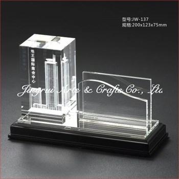 Unique Design D Inner Laser Engraved Crystal Name Card Holder - Desk business card holder engraved