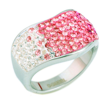 Hot Sale Iced Out Pink Rhinestone Silver Rings for Women Wedding Engagement Ring