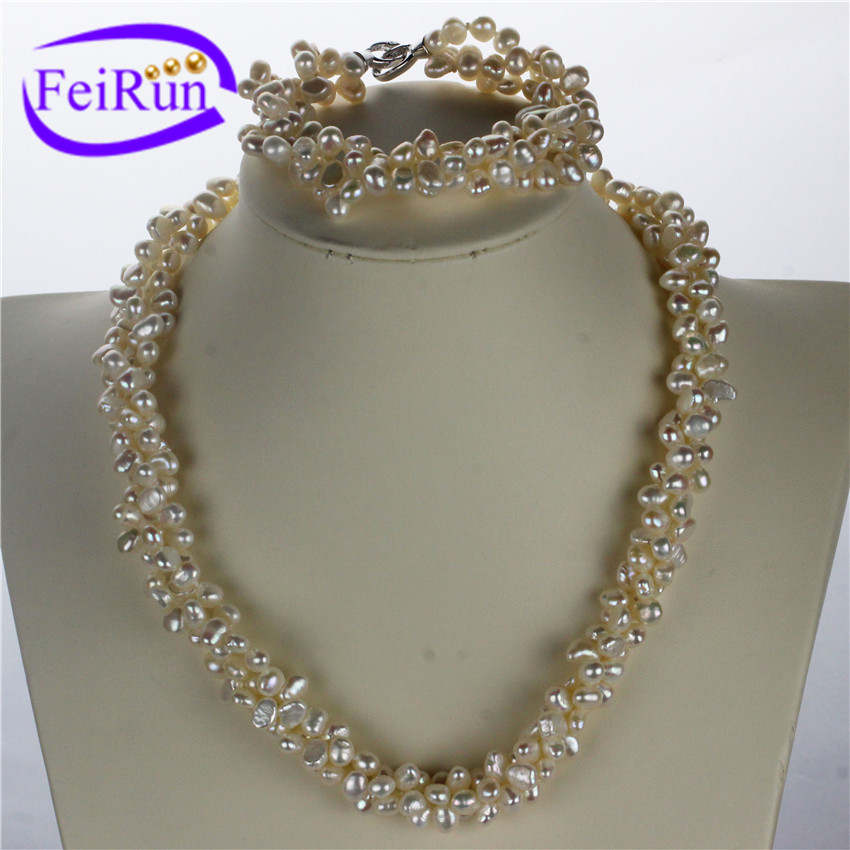 5-6mm nugget irregular baroque shape twisted pearl set heavy pearl necklace set