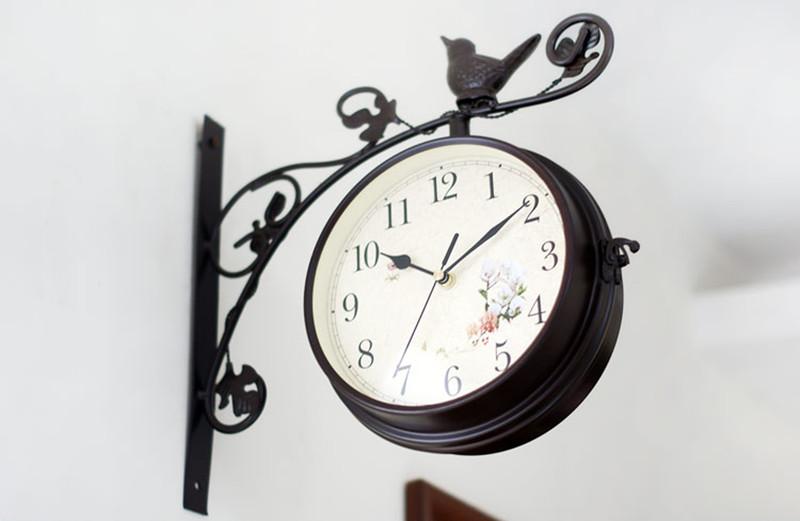 Metal Wall Clocks Wrought Iron Bird Hanging Clocks Hot