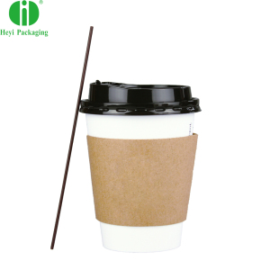 12 oz Disposable White Paper Coffee Cups with Black Dome Lids and Protective Corrugated Cup Sleeves - Perfect Disposable Travel