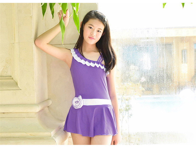 Hot Korean Teen Girls Ballet Dance Swimsuit Ruffles Around The Neck And Chest -5154
