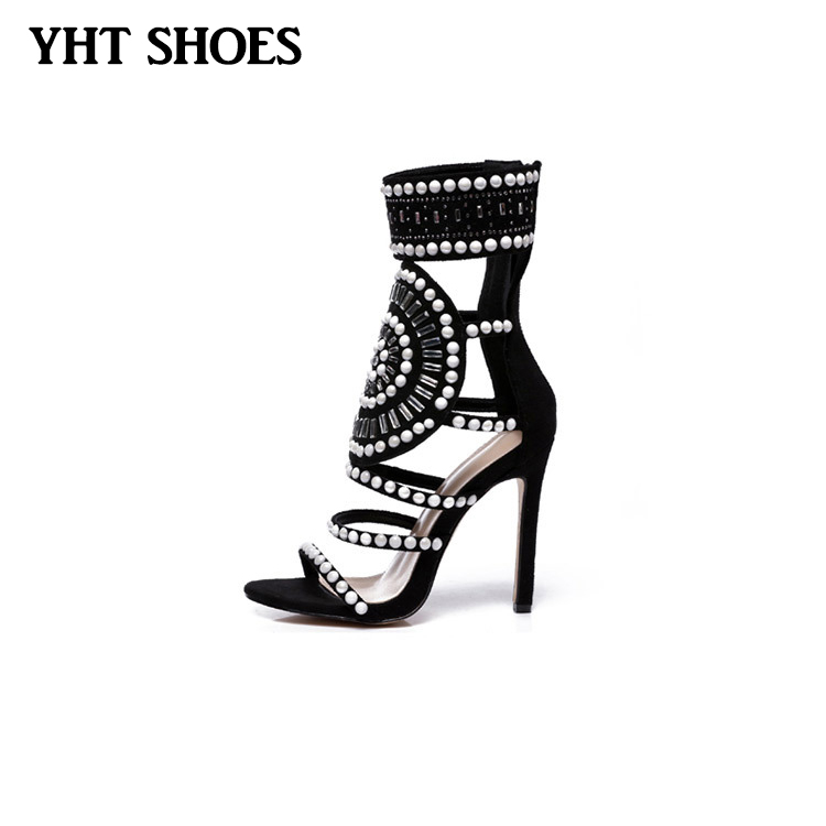 African style embellished beads ankle high heel gladiator <strong>sandal</strong> for ladies women
