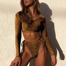 f54469c58a Gold Bikini Long Sleeve Swimsuit Bling Swimwear 2019 New Glitter Fabric  Shiny Sexy Women High Waist