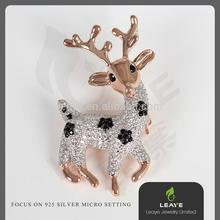 Christmas Festival Wholesale Gifts Silver Milky Deer Head Brooch