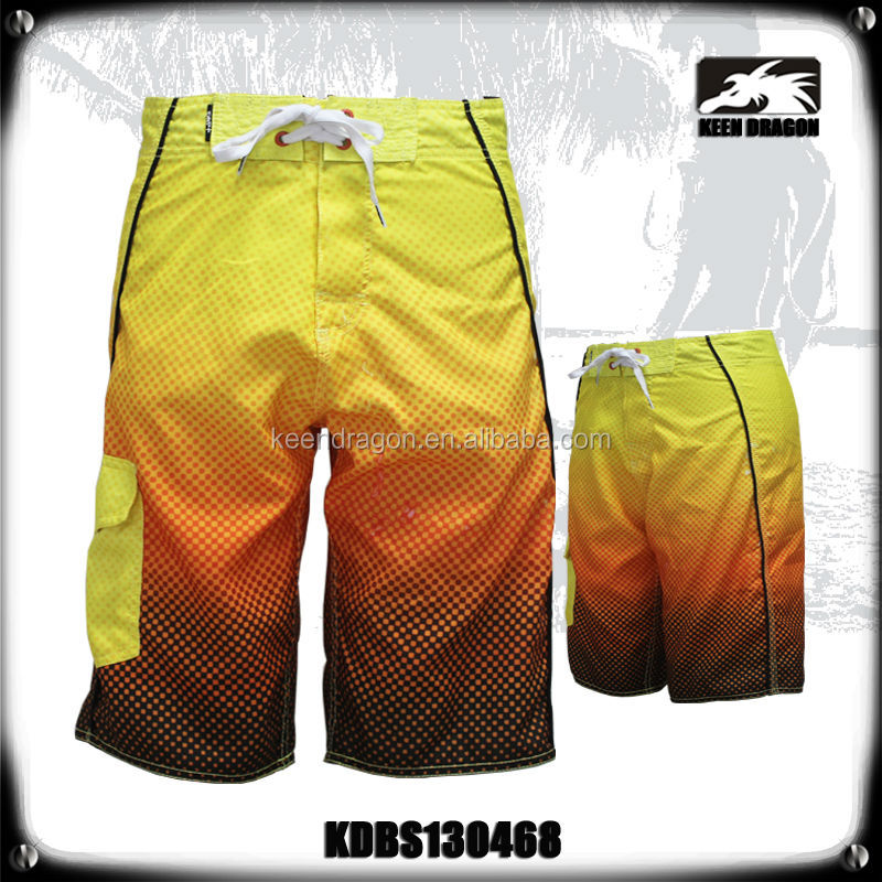 100% Polyester Europe Latest Style Gradual Change Bright Yellow Boy Swim Shorts