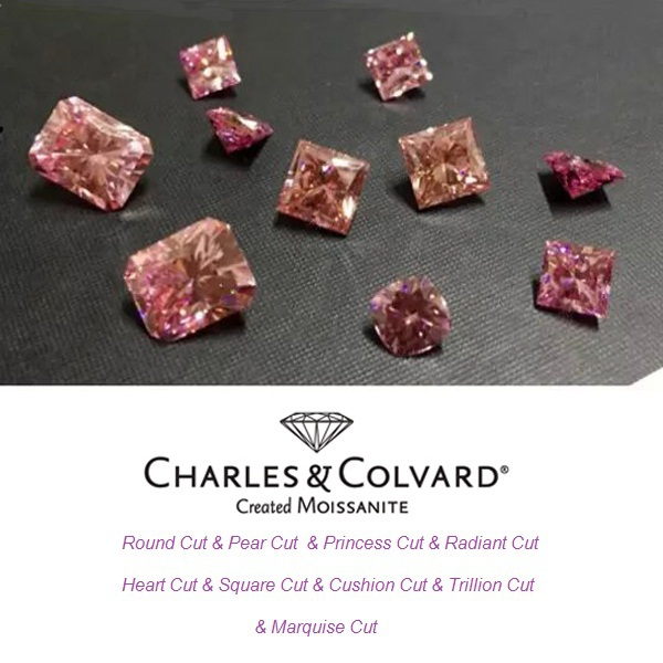 Charles Colvard Certified Fancy Pink Color Synthetic