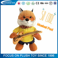 stuffed musical cool rock fox plush toy