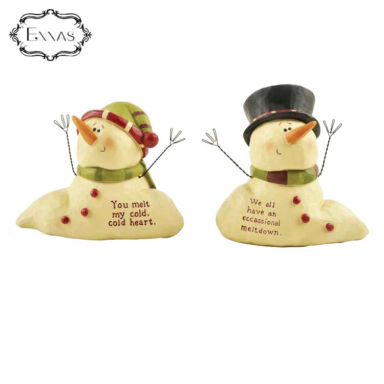 Seated cute couple small nephew little snowman Christmas home decoration Christmas gift resin crafts