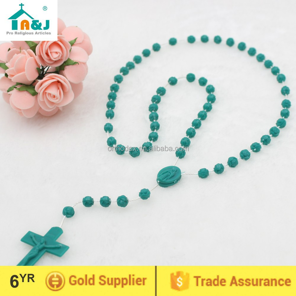 Cheap plastic rosary rose beads