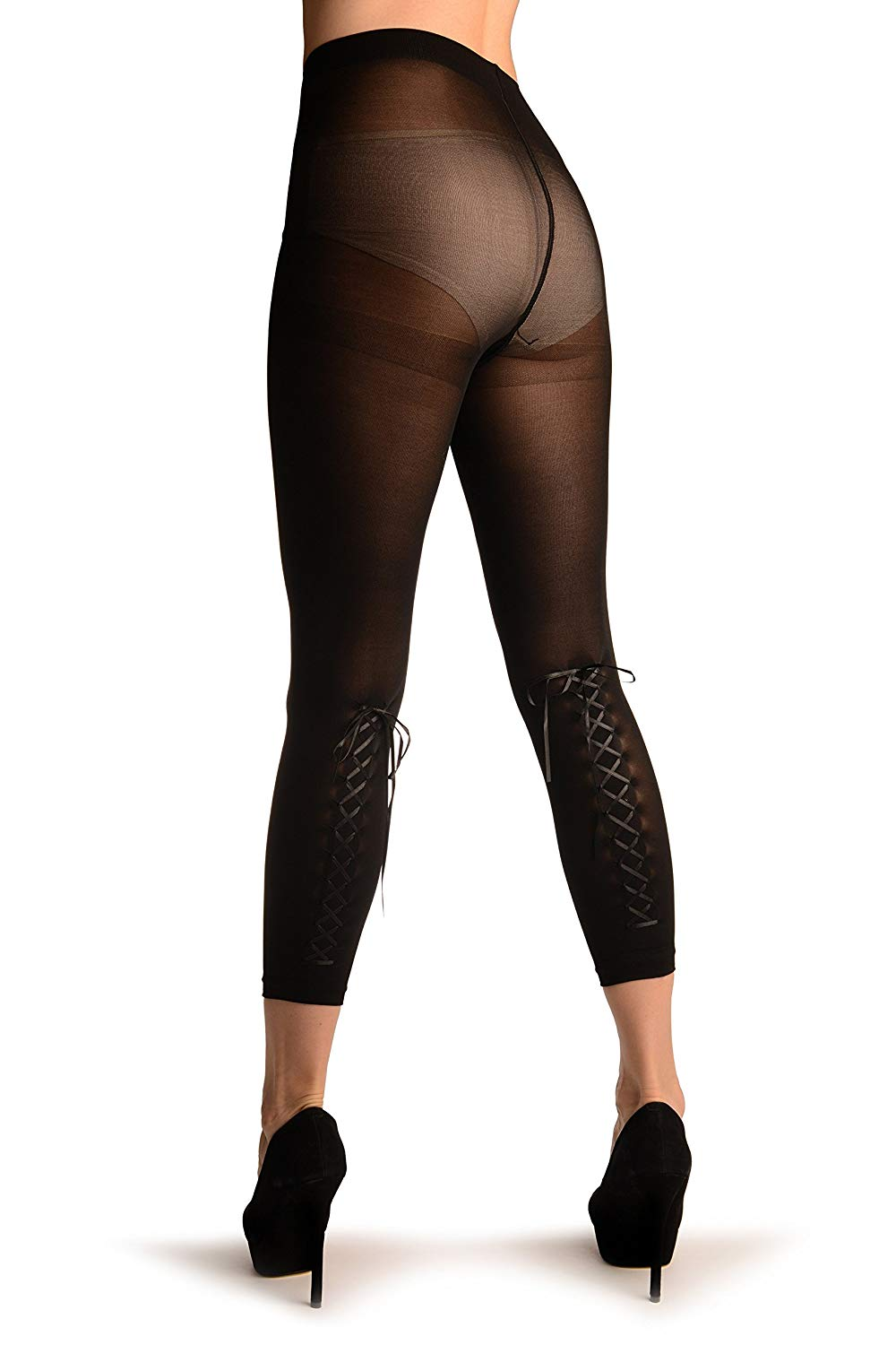 Girls black lace footless leggings — img 10