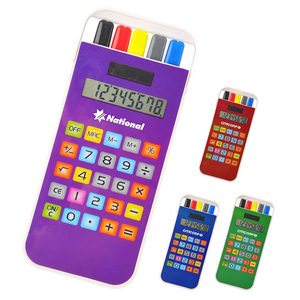 Desktop table office all over transfer print rectangle pen case set electronic solar energy power cell phone mobile calculator