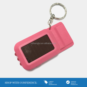 pink plastic 3 leds rechargeable solar flashlight with whistle