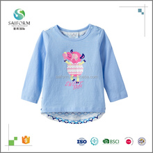 Eco-Friendly 100% cotton printed baby long sleeve t shirt