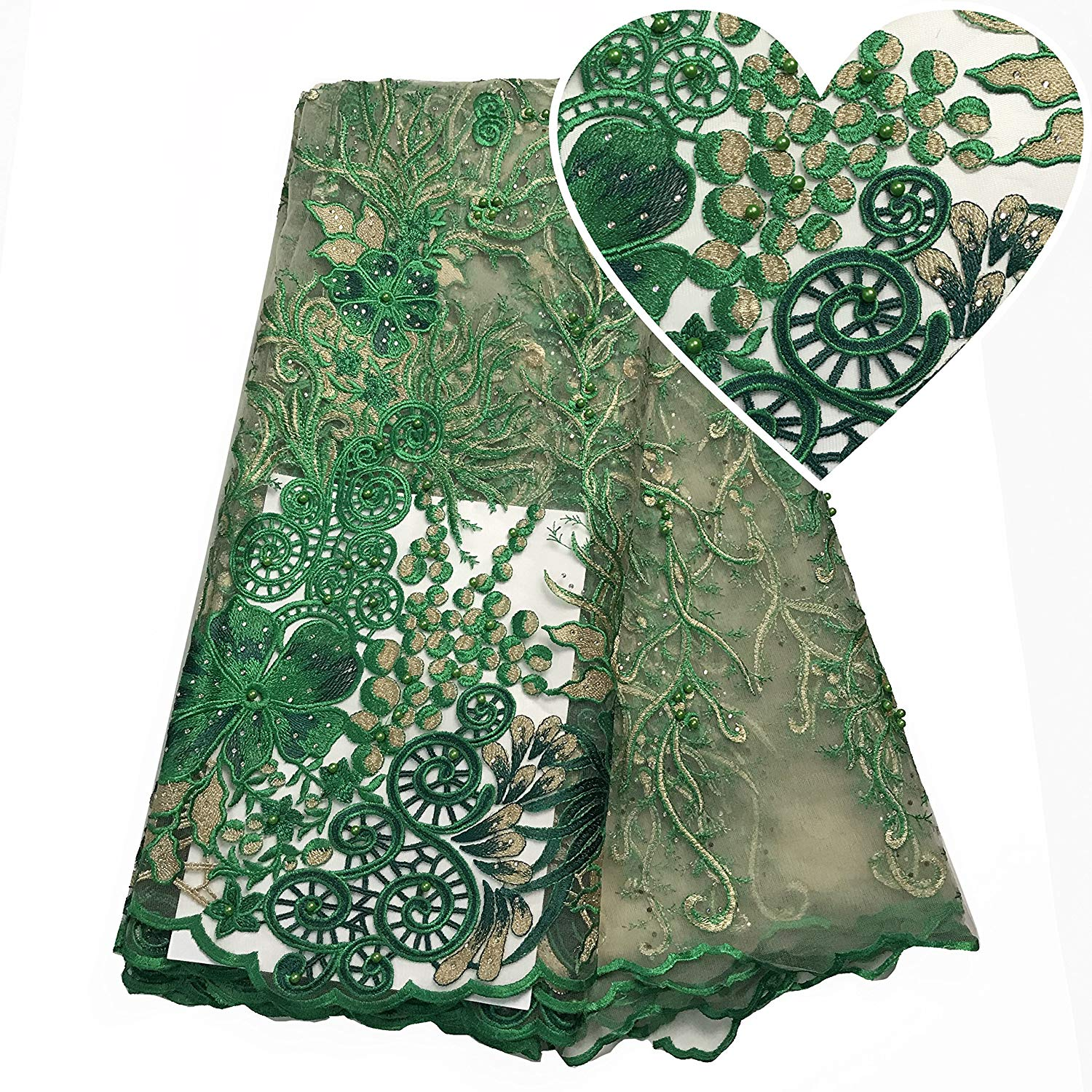 Get Quotations · Rhinestones French Laces Fabrics Tulle Green Embroidery  Fabric Beaded Lace Fabric Net 2018 African Dresses for a75a48164406