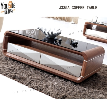 Wooden Furniture White Leaquer Mdf Coffee Table Telescopic