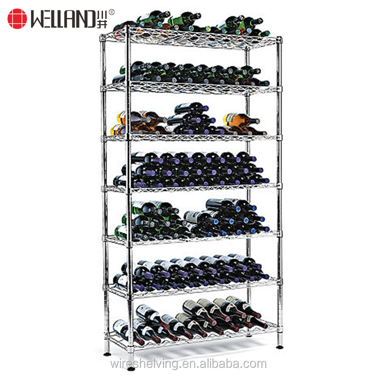 NSF Approval storage 7 layers metal stainless steel wine rack for commercial use