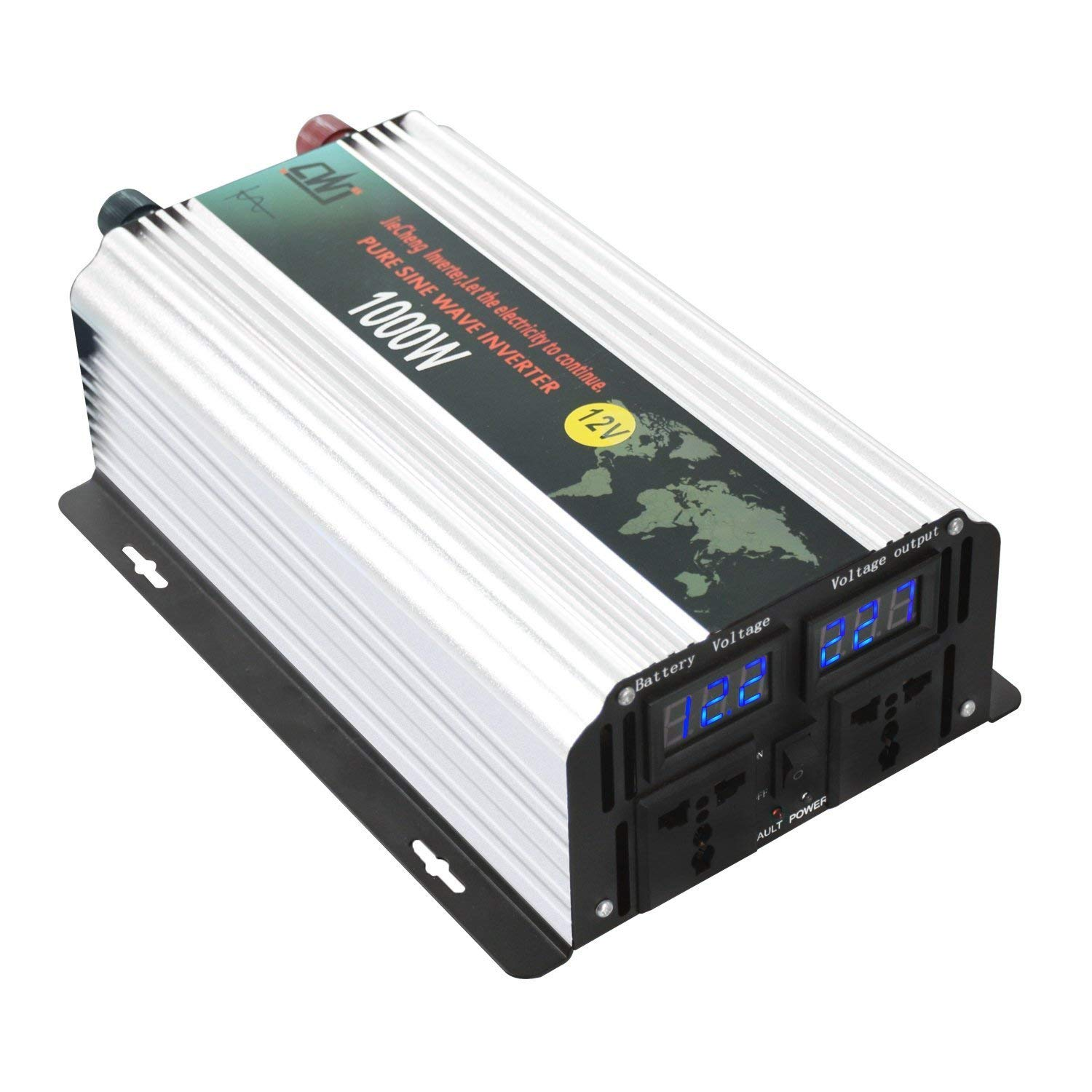 Pure Sine Wave Solar Car Power Inverter 1000W Peak 2000W 12V To AC 110V 120V High Efficient DC Power Inverters With Dual AC Outlets & LCD Display For Car Solar System and Emergency