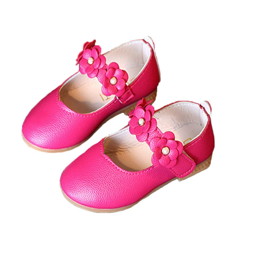 HANMAX Baby Toddler Girls Soft PU Leather Mary Janes Flowers Bow Princess Dress Shoes