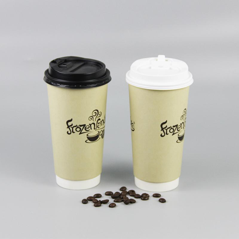 O logotipo personalizado de impressão descartável 10oz parede dupla copos de papel com tampas