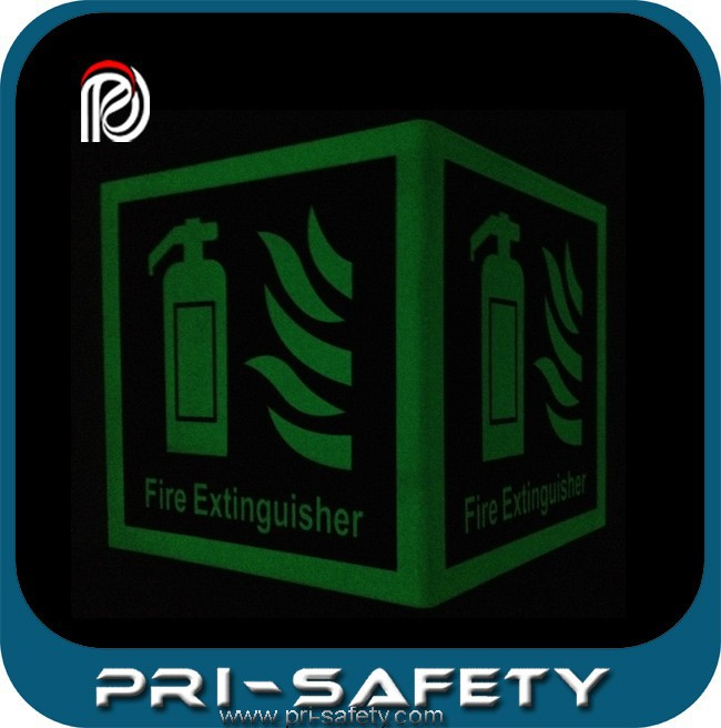 luminous plastic fire and safety signs 150X150mm