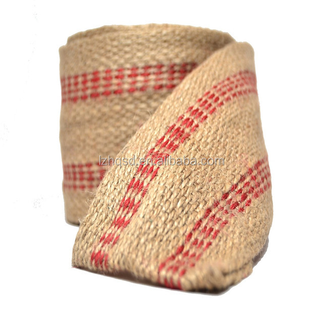 "11 lb. x 3.5"" Jute Webbing 72 yards per roll Red strip"