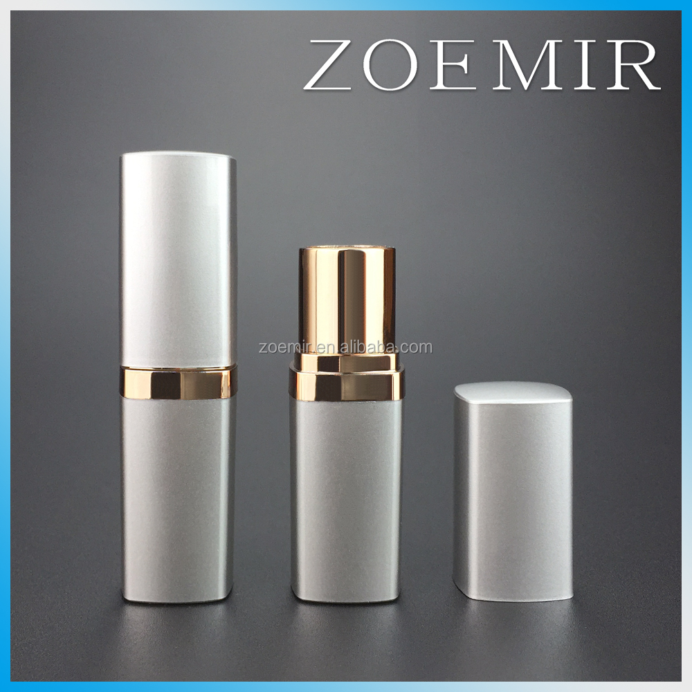 Spray painting silver cap and base lipstick tubes square shaped plastic lip stick case