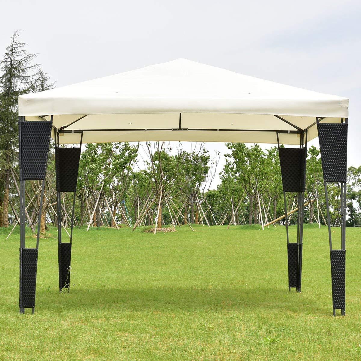 Get Quotations · KCHEXu003eOutdoor 10u0027x10u0027 Rattan Wicker Gazebo Canopy Tent Shelter Awning W/ & Cheap 10x10 Canopy Gazebo find 10x10 Canopy Gazebo deals on line at ...