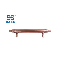 Hot sales single system small double copper tube in tube pipe coaxial heat pump heat exchanger economizer
