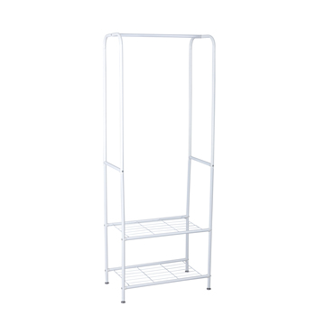 2 tier  clothes hanger with  shoe rack shelves coat storage rack