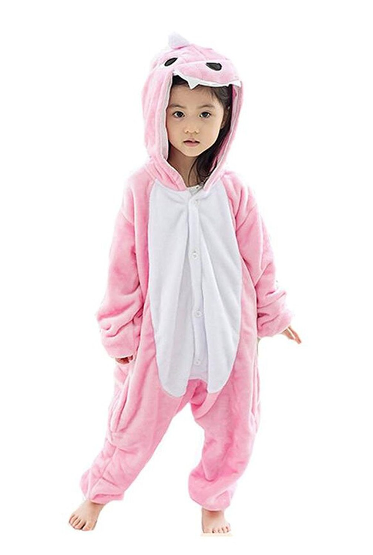 345c4407da Get Quotations · Kids Kigurumi Onesie Costume Pajama Partywear Pink Dinosaur