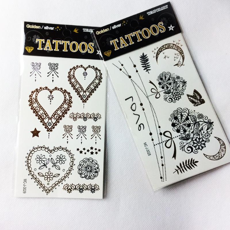 nouvel art de corps m tallique tatouage femmes dentelle coeur designer temporaire tattoo or. Black Bedroom Furniture Sets. Home Design Ideas
