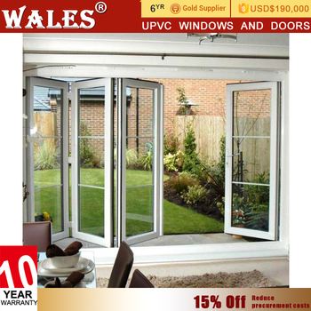 Tempered Glass Double Leaf Pvc White Shop Front Unbreakable Glass
