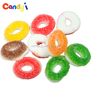 China supplier sweet sugar coated chews gummy circle shape jelly candy