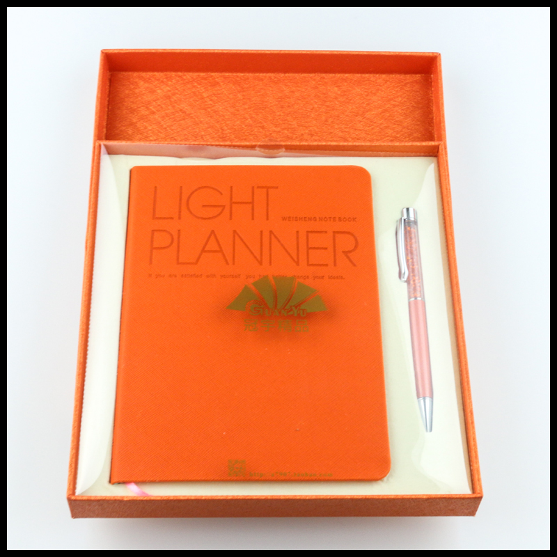 Orange best brand name luxury corporate presents notebooks and pen kits as wedding gift