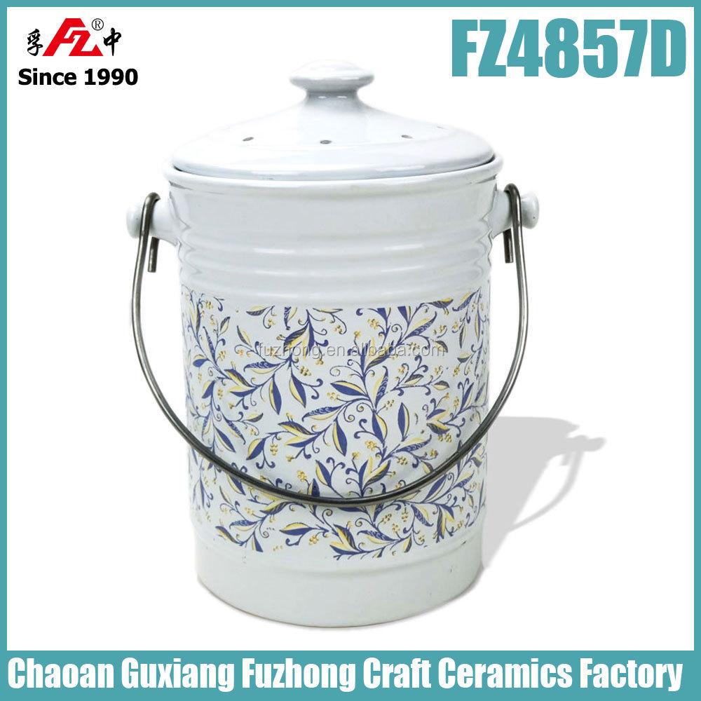 Ceramic Matte Compost Bin Compost Crock. Small Kitchen Compost Bin