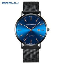 CRRJU женские часы лучший бренд роскошный женский, сетчатый ремень ультра-тонкие часы из нержавеющей стали водонепроницаемые часы кварцевые ...(Китай)