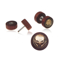 Round skull korean ear stud wholesale wood earring for men