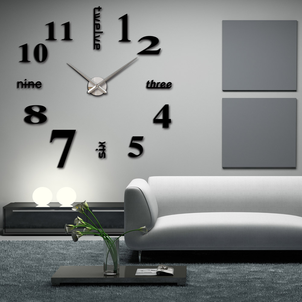 diy large watch wall clock modern design creative stickers mirror effect acrylic glass decal. Black Bedroom Furniture Sets. Home Design Ideas