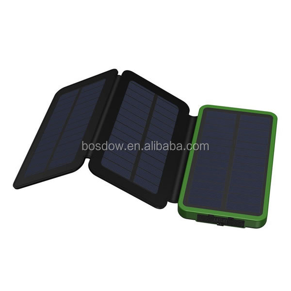 BS-100G solar power bank 10000mah With Foldable Solar Panels Backup Solar Battery Cell Phone Charger With Good Price