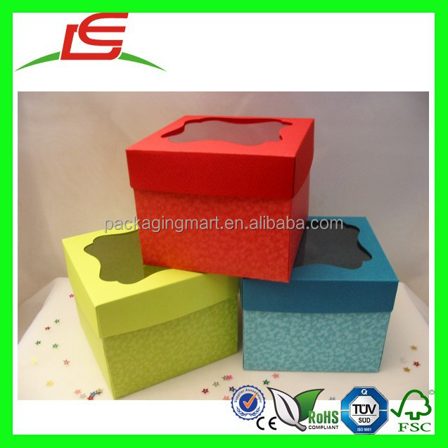 N351 Decorative Individual Plastic Cup Cake Boxes