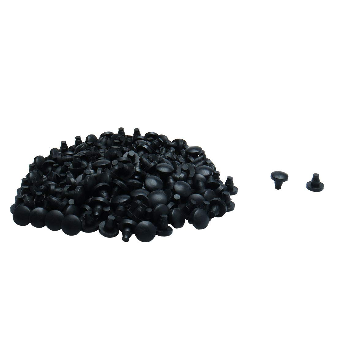 uxcell 200pcs 7mm Black Stem Bumpers Glide, Patio Outdoor Furniture Feet Glass Table Cabinet Top Anti-collision Embedded