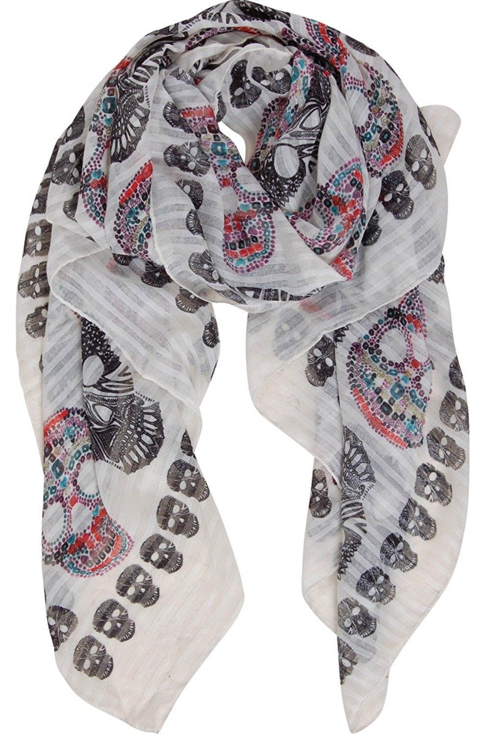 Lina /& Lily Day of the Dead Sugar Skull Print Large Scarf Shawl Lightweight